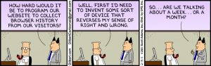 A Dilbert cartoon on the privacy of browser data